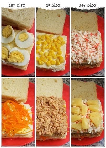Distribución Ingredientes Torre de Pan de Molde