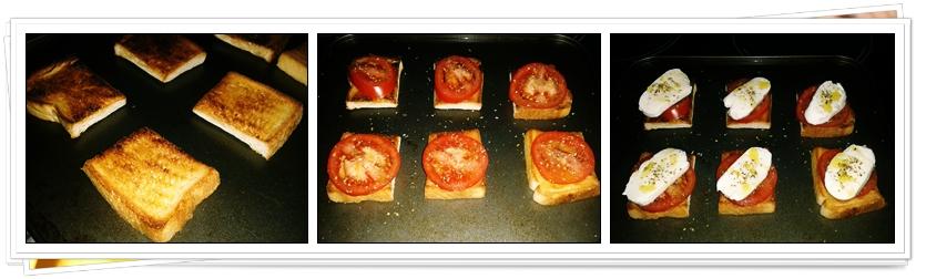 Pasos Mini tostas de Tomate con Mozzarellas