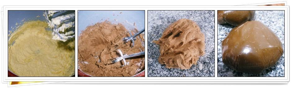 Pasos para masa de galletas de chocolate con almendras